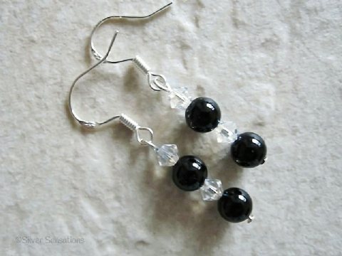 Black Onyx & Swarovski Crystals Sterling Silver Earrings